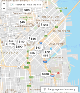 Airbnb map of Mission Bay area